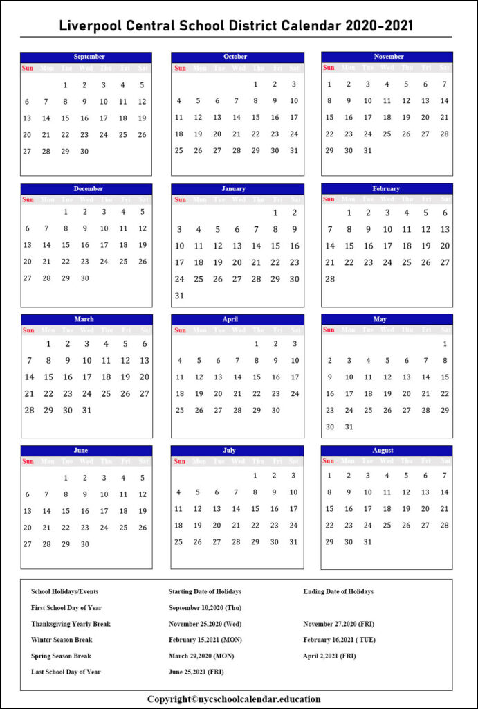 Liverpool Central School District Calendar 2020-2021