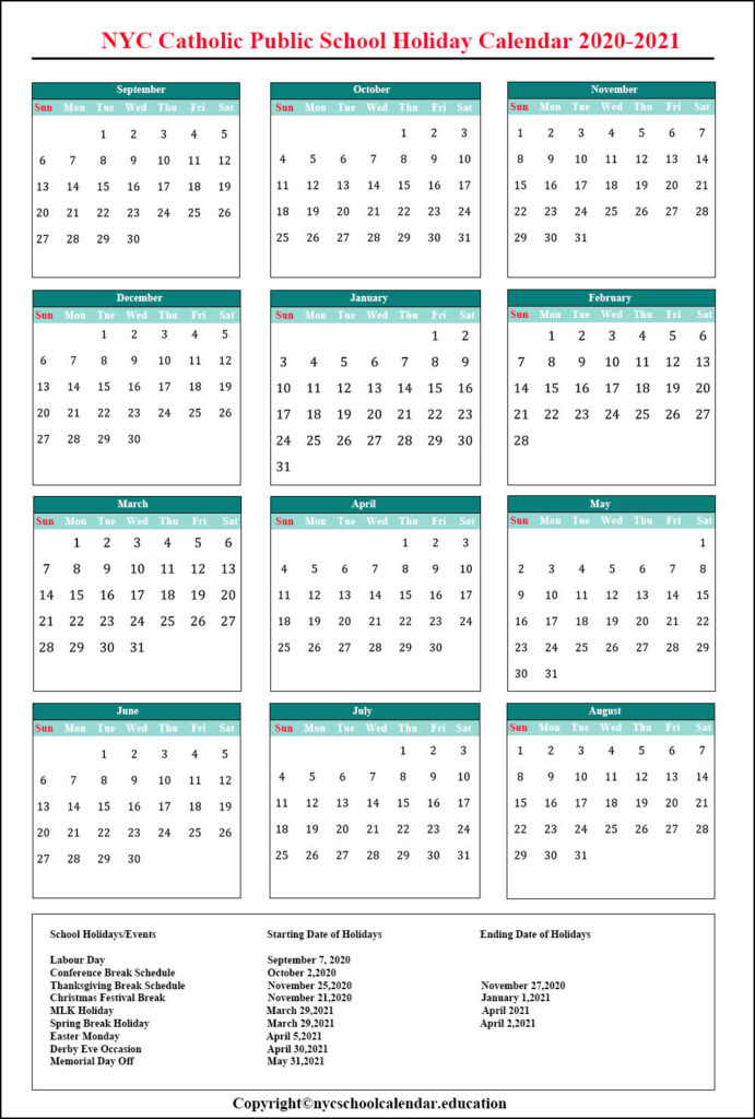 NYC Catholic Public School Holiday Calendar 2020-2021