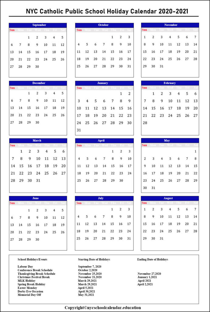 NYC Catholic School Calendar 2020-2021
