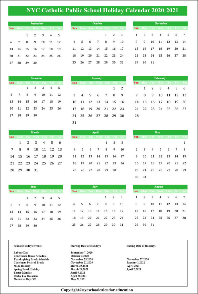 NYC Catholic School Calendar 2020