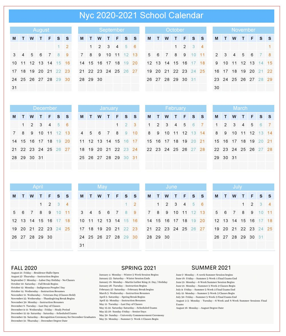 NYC DOE Public School Calendar Holidays 2021 2022