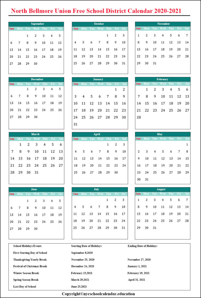 North Bellmore Union Free School District Calendar