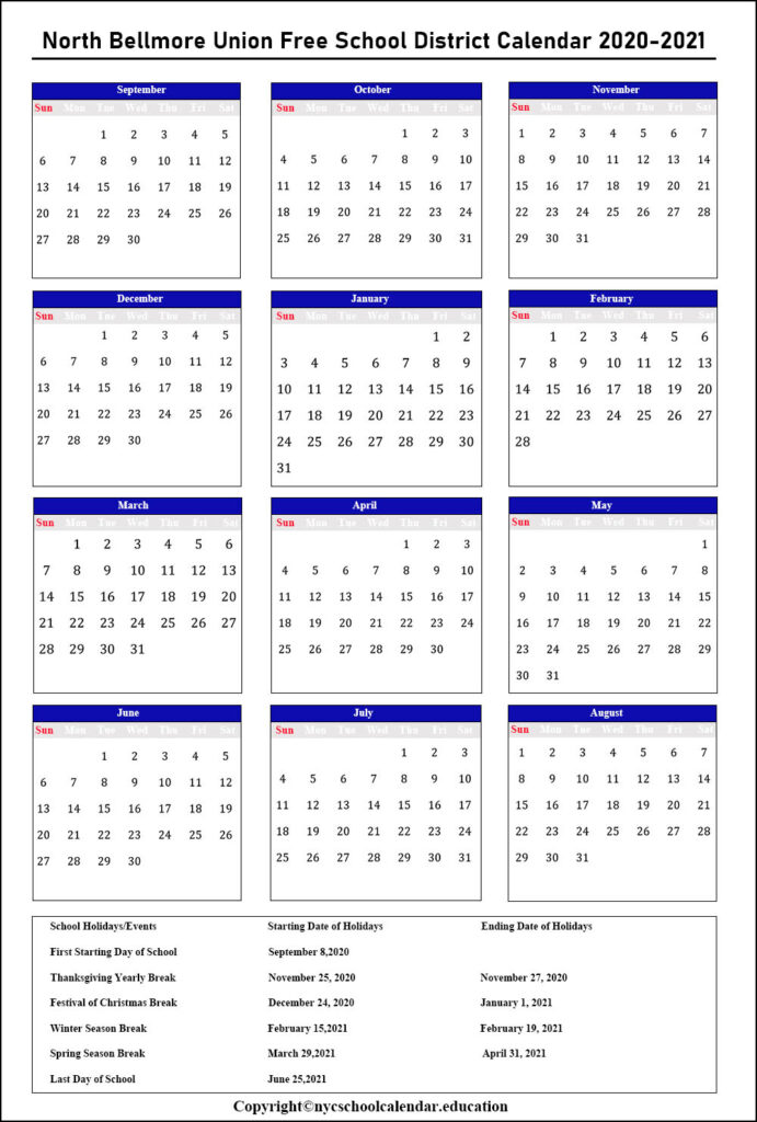 North Bellmore Union School Calendar