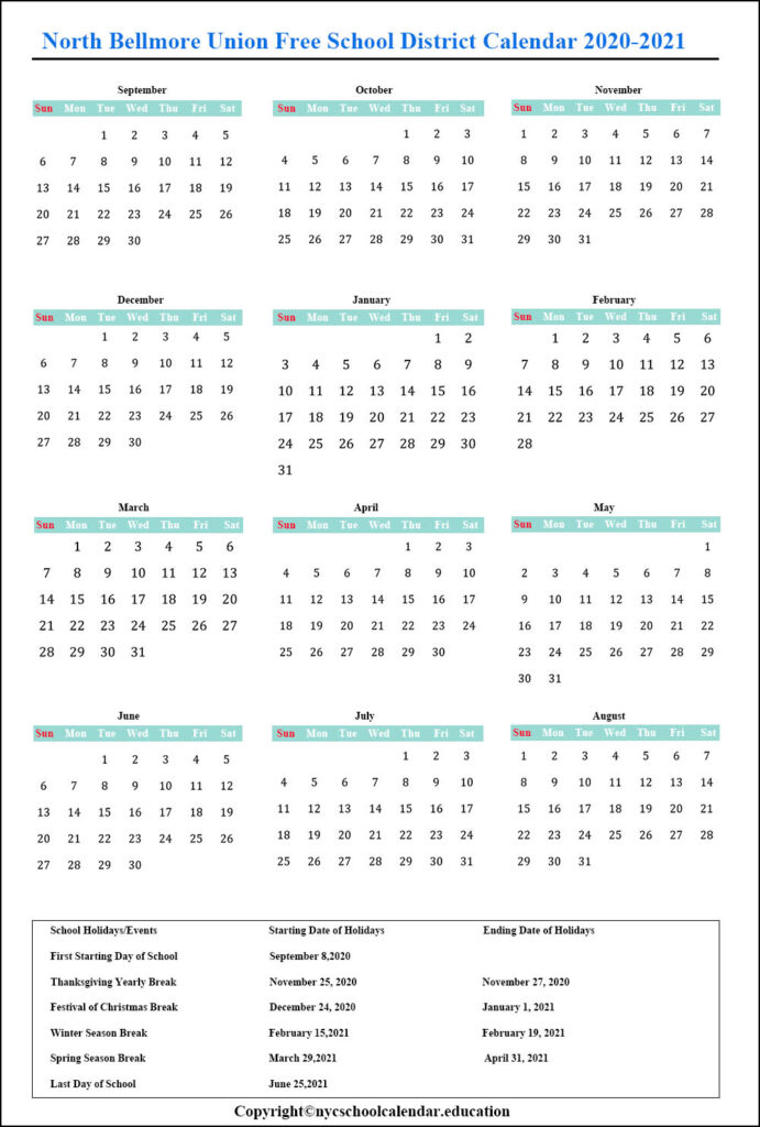 North Bellmore School Calendar