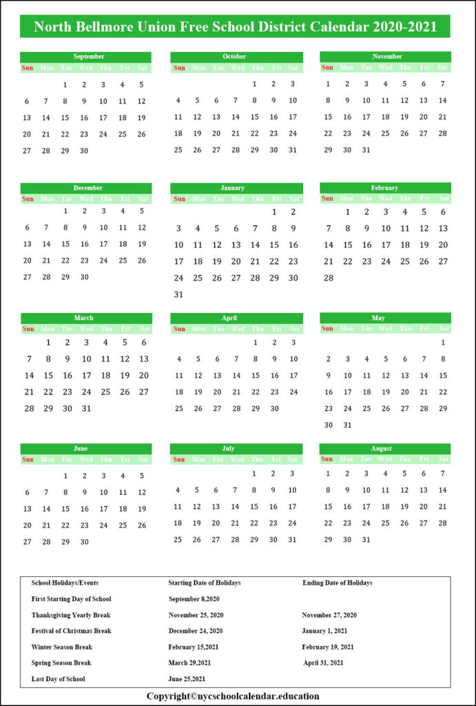 North Bellmore School District Calendar
