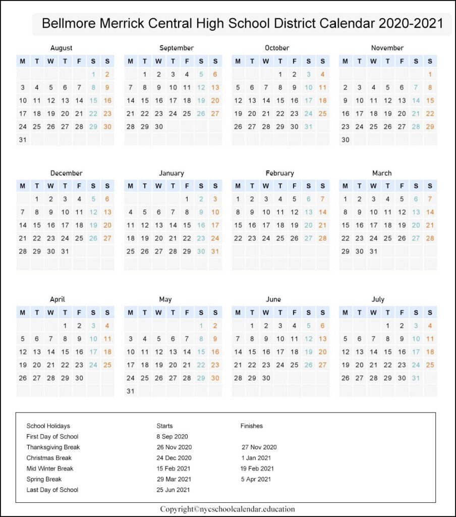 Bellmore Merrick Central High School District Calendar 2020-2021