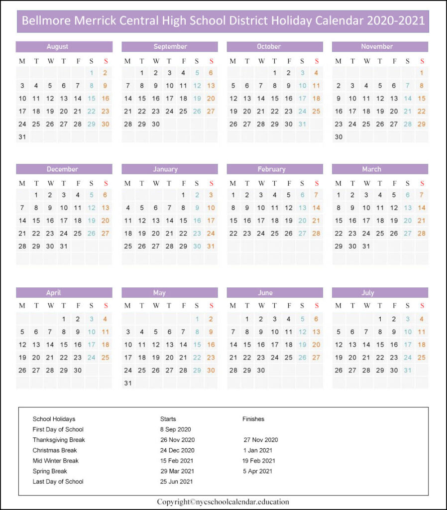 Bellmore Merrick Central School Calendar 2020-2021