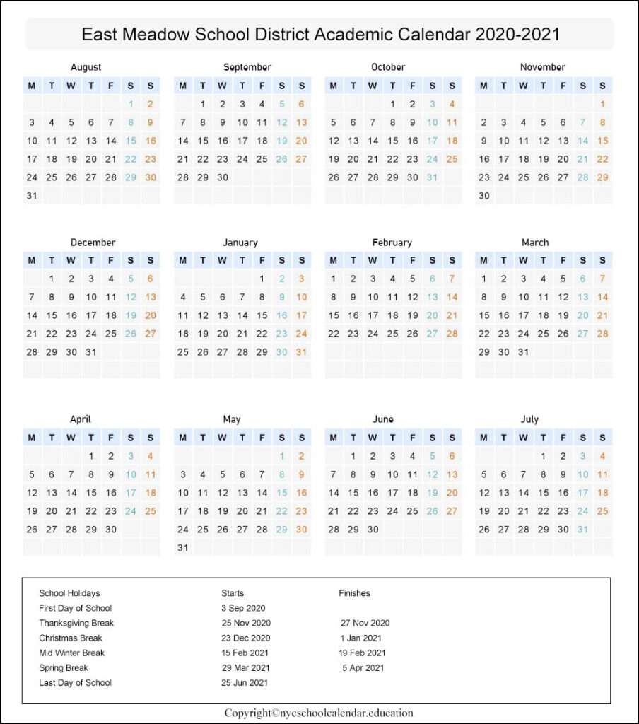 East Meadow School District Calendar 2020-2021