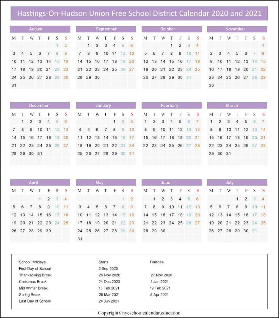 Hastings On Hudson Union Free School District Calendar 2020-2021