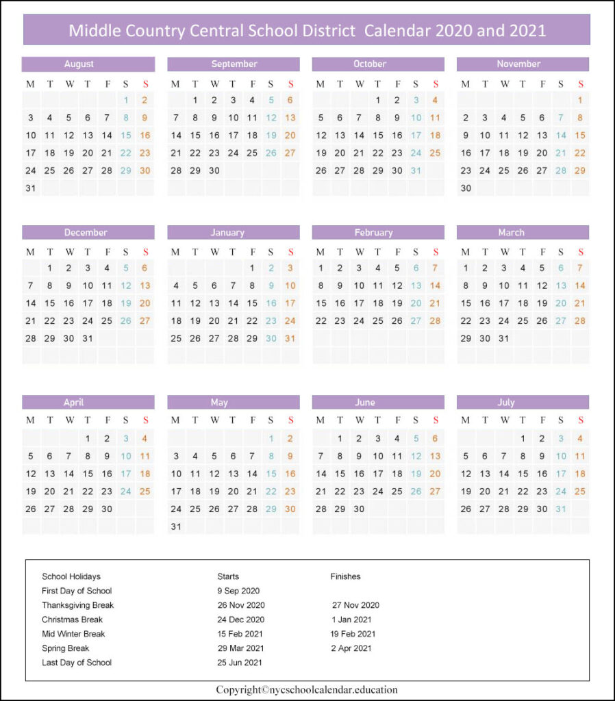 Middle Country Central School Calendar 2020-2021