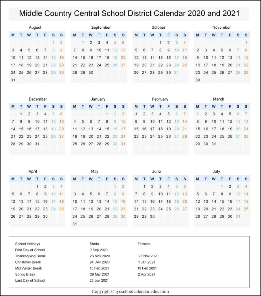 Middle Country Central School District Calendar 2020-2021