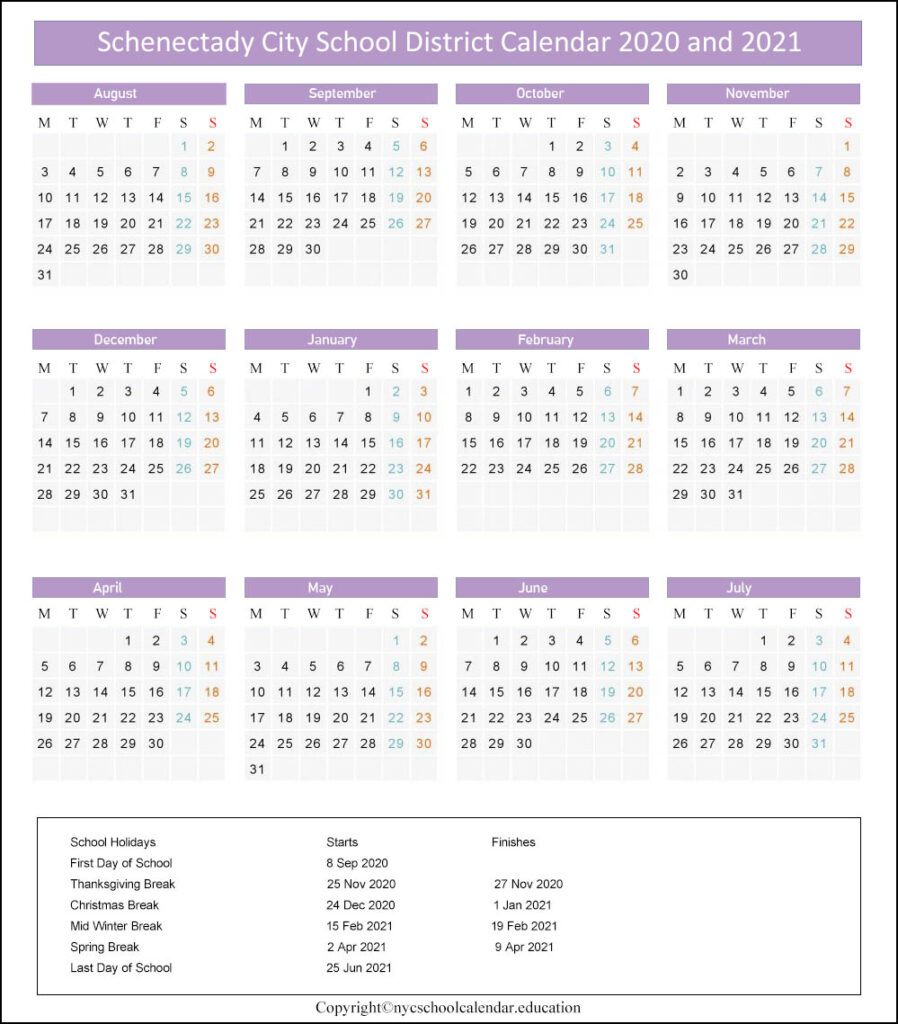 Schenectady City School District Calendar 2020-2021