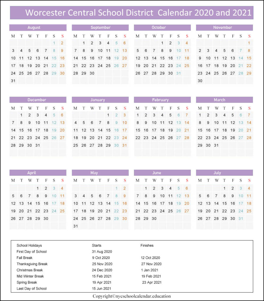 Worcester Central School District CALENDAR 2020-2021