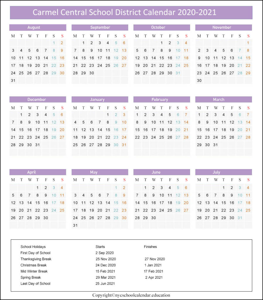 Carmel Central School District Calendar 2020-2021